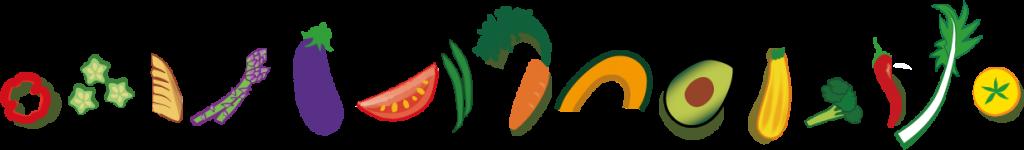 マダム・カーコのマクロビクッキングスクールオリジナル野菜柄の罫線